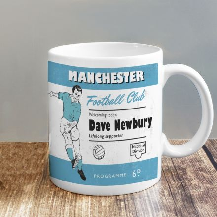 Personalised Vintage Football Sky Blue Supporter's Mug
